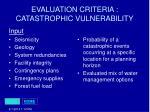 evaluation criteria catastrophic vulnerability