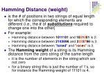 hamming distance weight