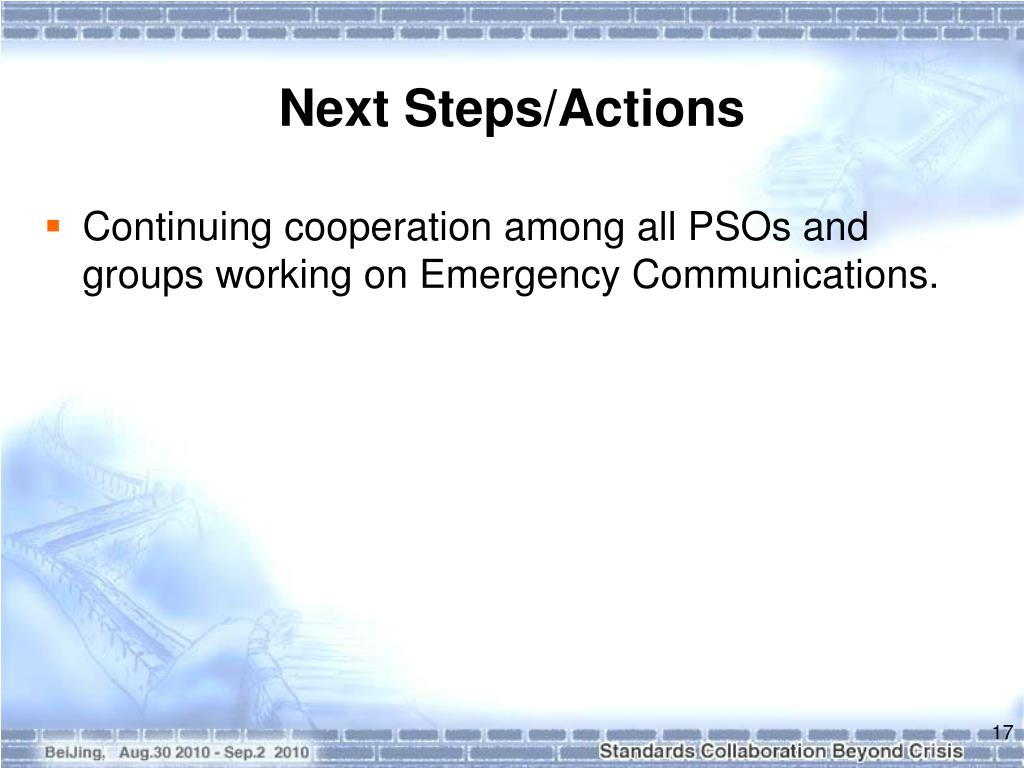 Next Steps/Actions