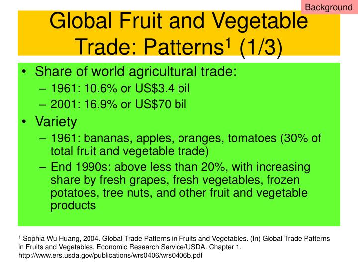 Global fruit and vegetable trade patterns 1 1 3