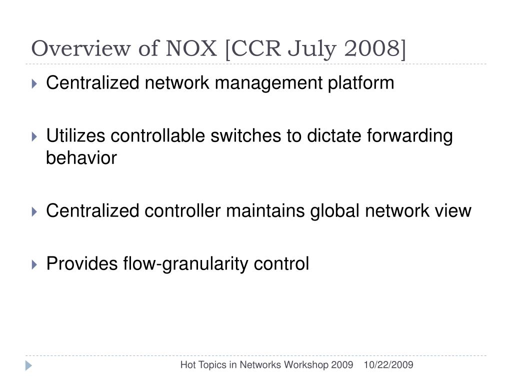 Overview of NOX [CCR July 2008]