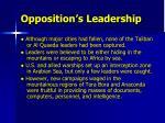 opposition s leadership