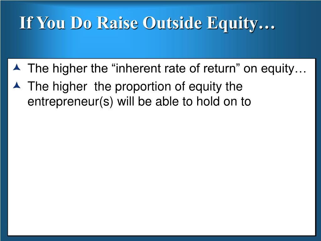If You Do Raise Outside Equity…