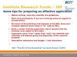 institute research funds irf19