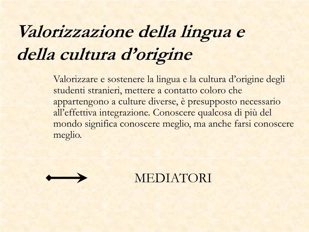 Valorizzazione della lingua e della cultura d'origine