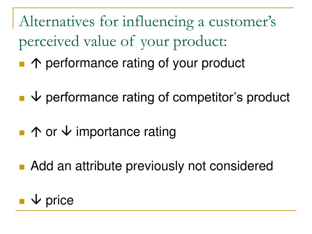 Alternatives for influencing a customer's perceived value of your product: