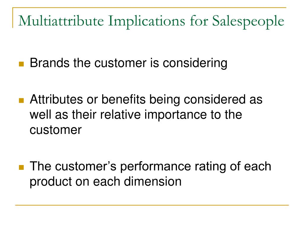 Multiattribute Implications for Salespeople