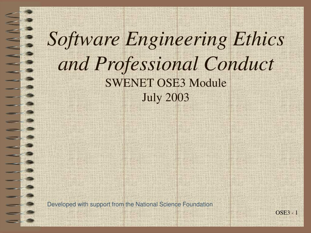 software engineering ethics and professional conduct swenet ose3 module july 2003 l.
