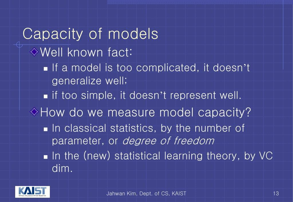 Capacity of models