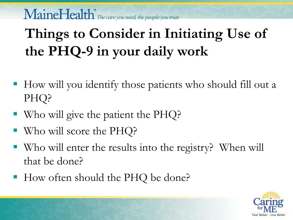 Things to Consider in Initiating Use of the PHQ-9 in your daily work