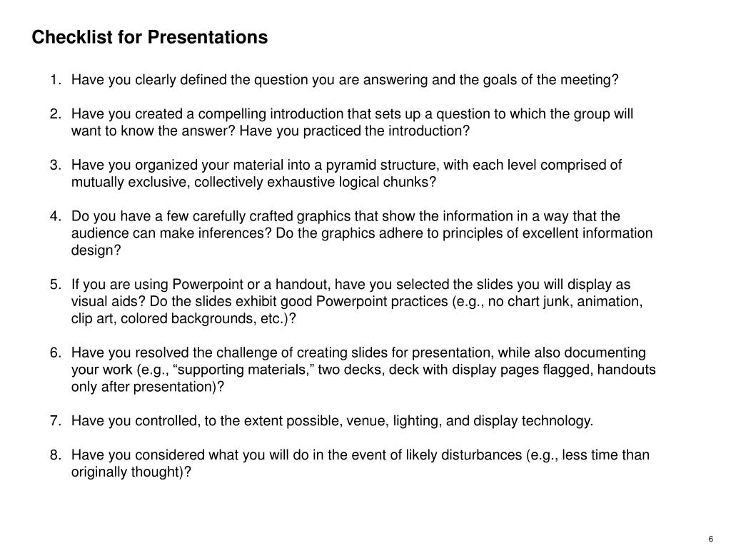 Checklist for Presentations