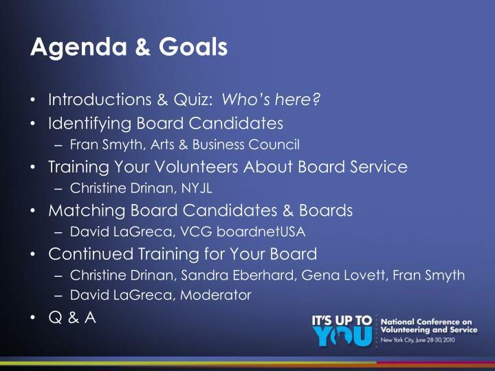 Agenda goals