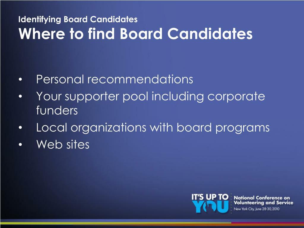 Identifying Board Candidates