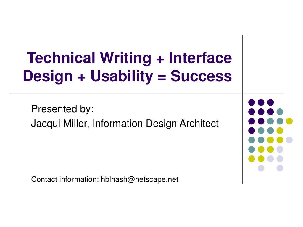 technical writing interface design usability success l.