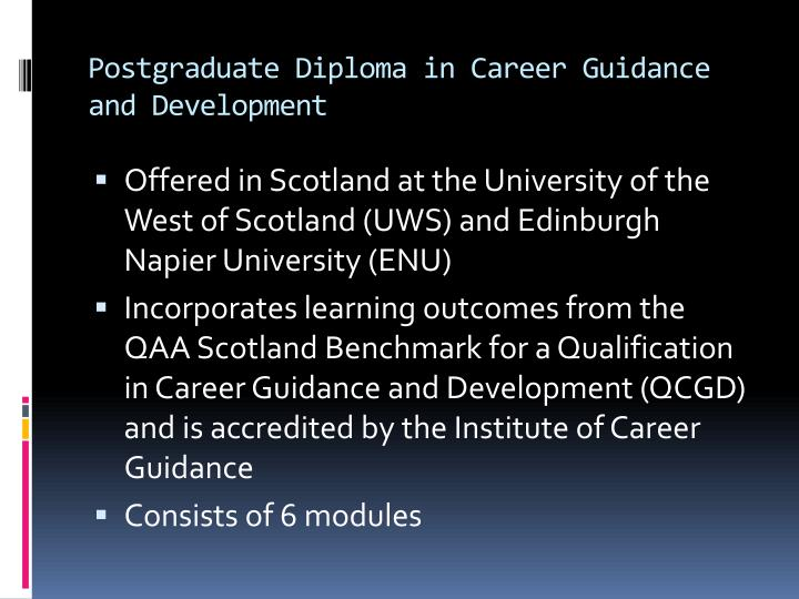 Postgraduate diploma in career guidance and development