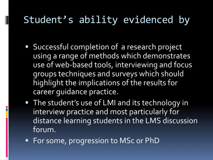 Student's ability evidenced by
