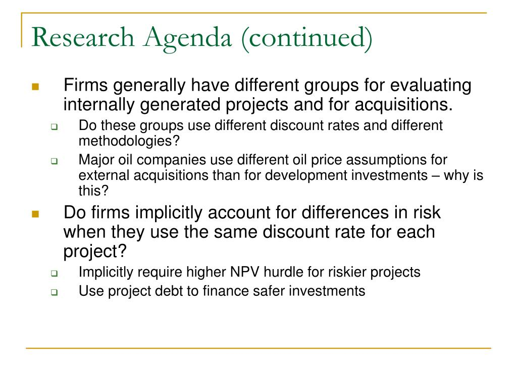 Research Agenda (continued)