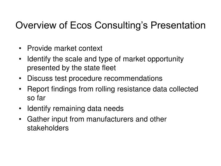 Overview of ecos consulting s presentation