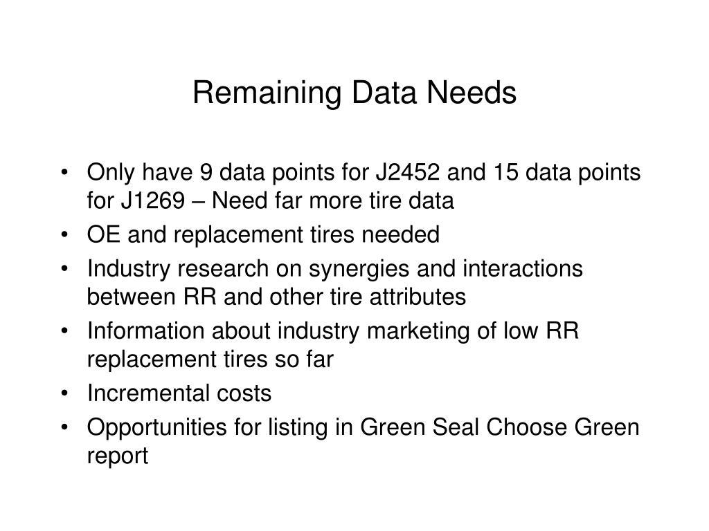 Remaining Data Needs