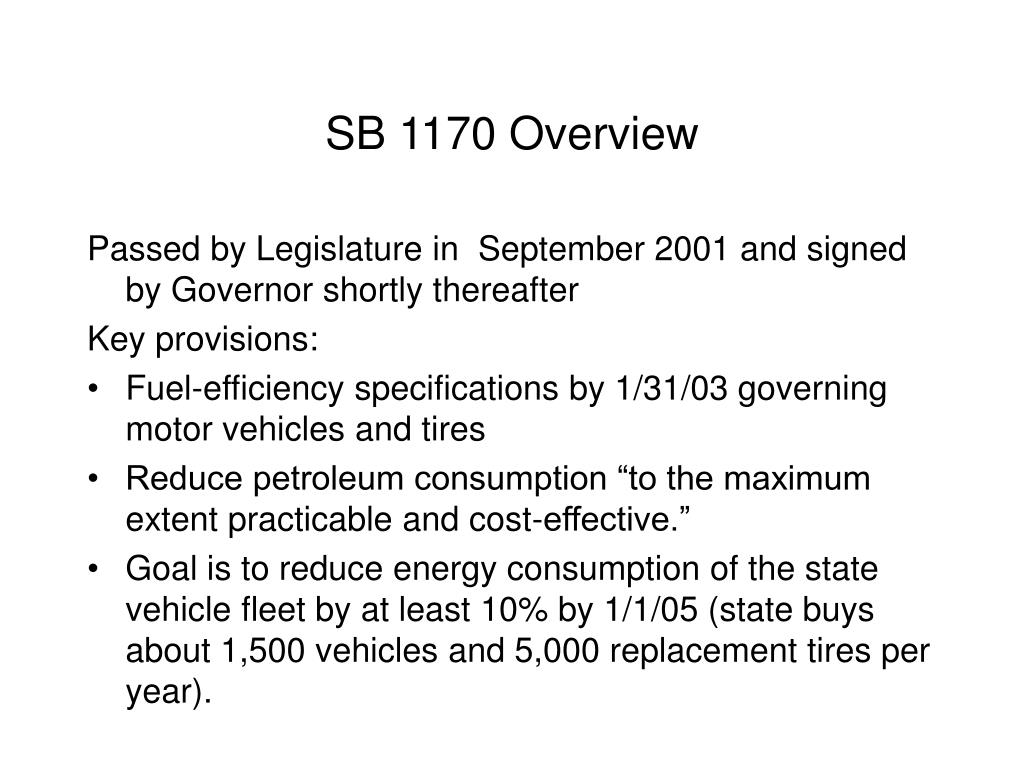 SB 1170 Overview