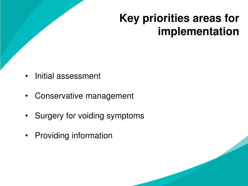 Key priorities areas for implementation