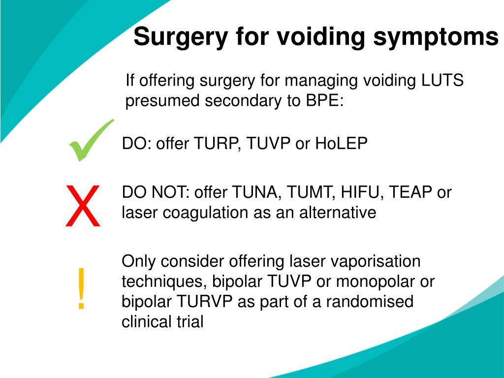 Surgery for voiding symptoms