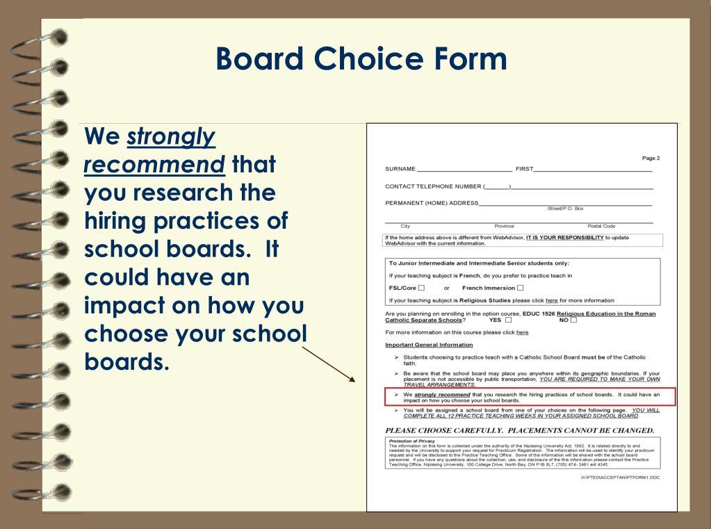 Board Choice Form