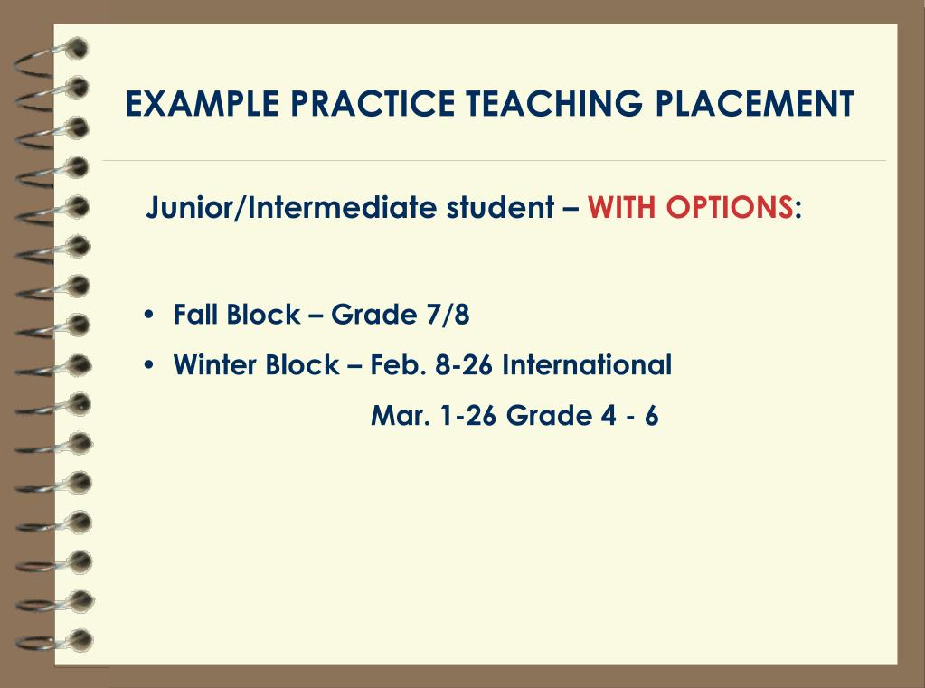 EXAMPLE PRACTICE TEACHING PLACEMENT