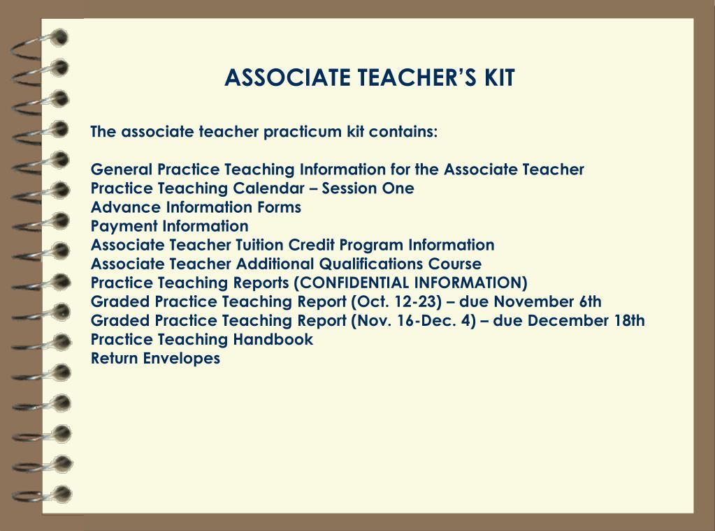 ASSOCIATE TEACHER'S KIT
