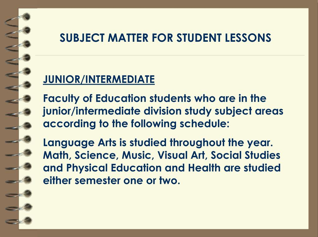 SUBJECT MATTER FOR STUDENT LESSONS