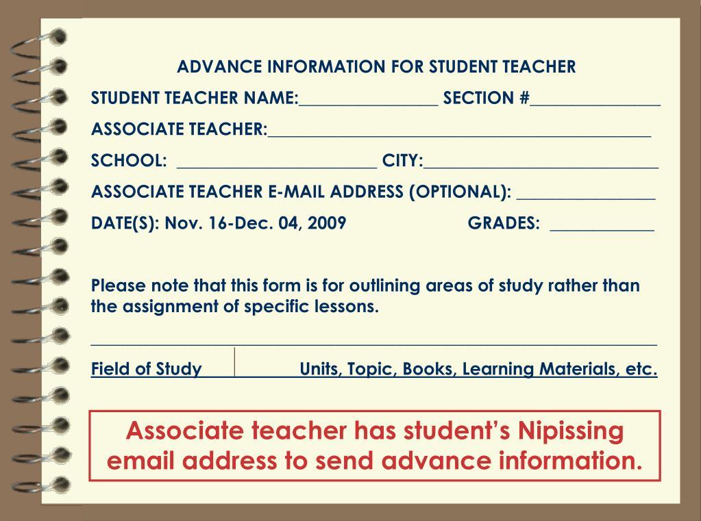 ADVANCE INFORMATION FOR STUDENT TEACHER