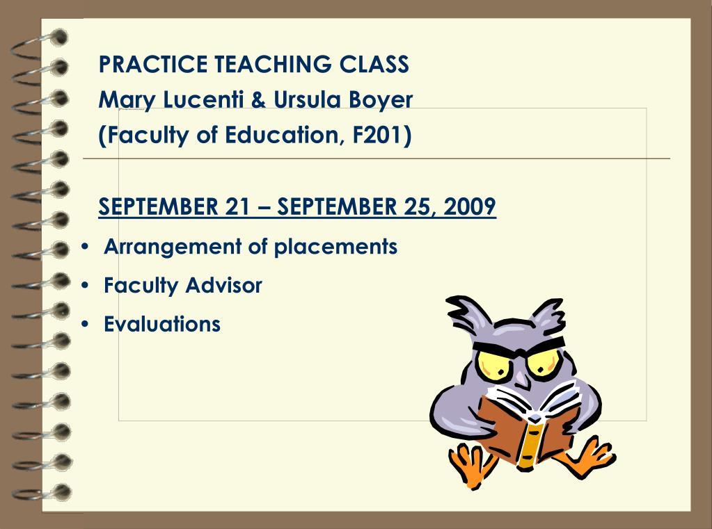 PRACTICE TEACHING CLASS