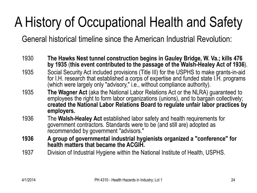 A History of Occupational Health and Safety