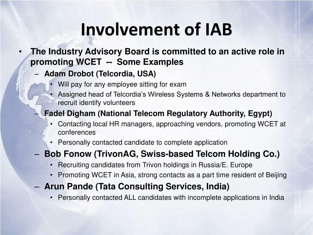 Involvement of IAB