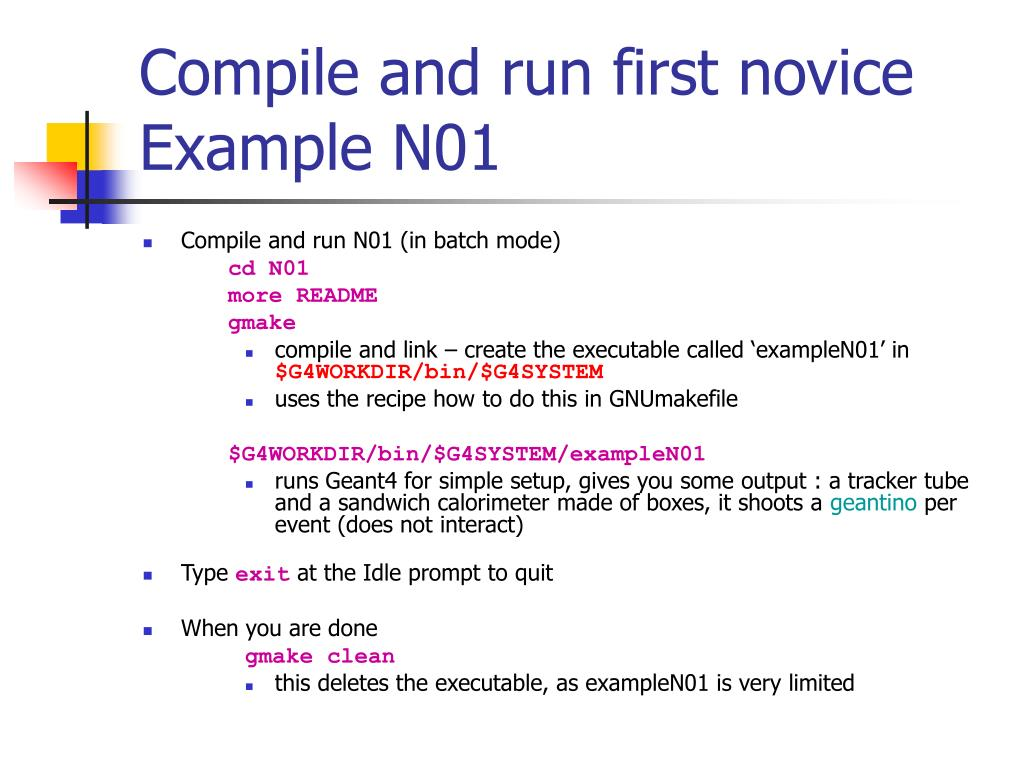 Compile and run first novice Example N01