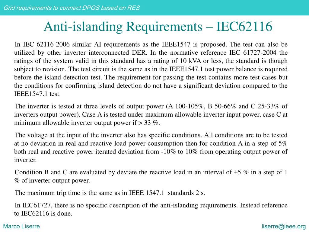 In IEC 62116-2006