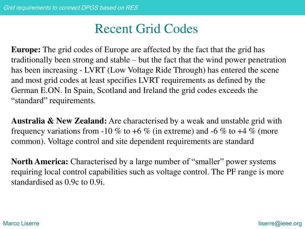 Recent Grid Codes