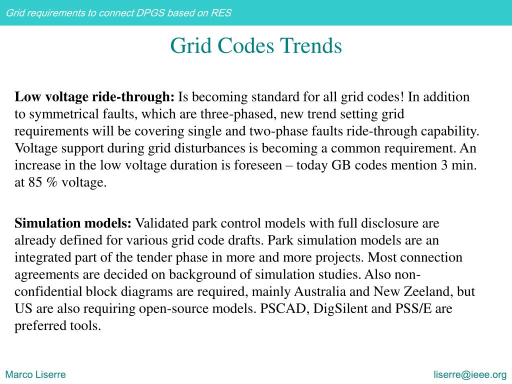 Grid Codes Trends