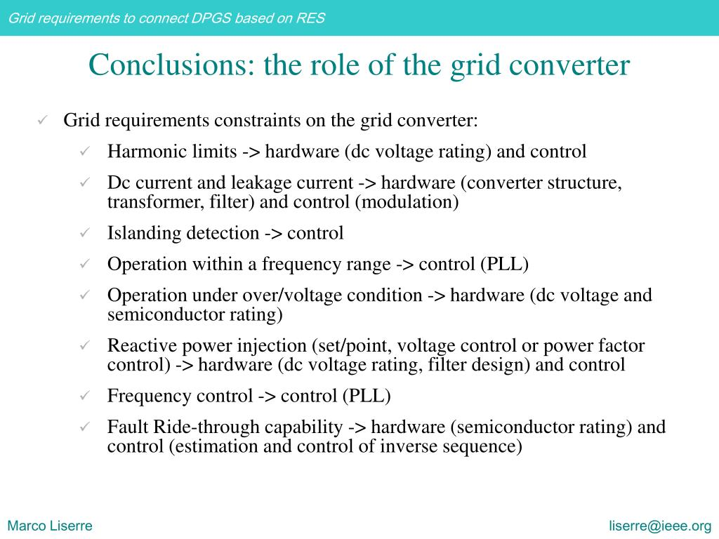 Conclusions: the role of the grid converter