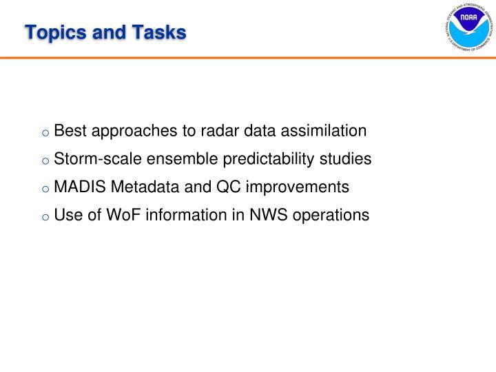 Topics and tasks