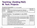 teaching guiding r d m tech projects
