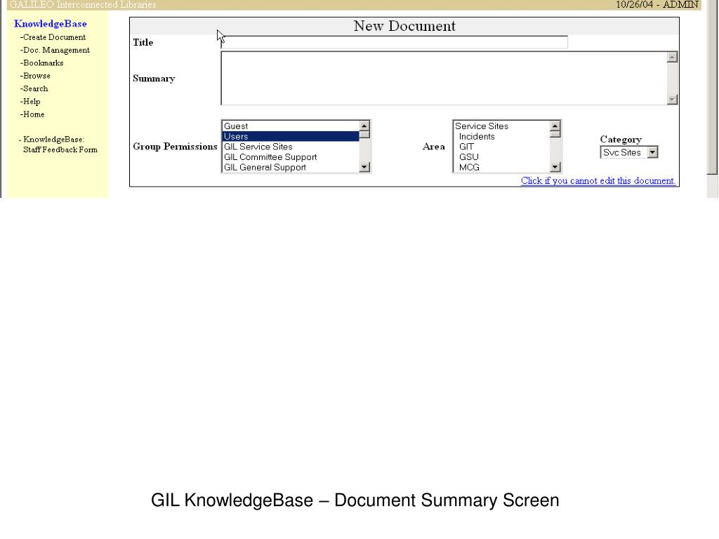 GIL KnowledgeBase – Document Summary Screen