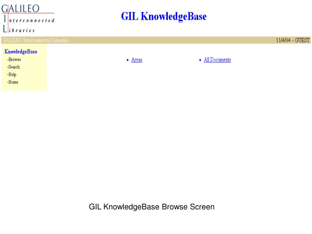 GIL KnowledgeBase Browse Screen
