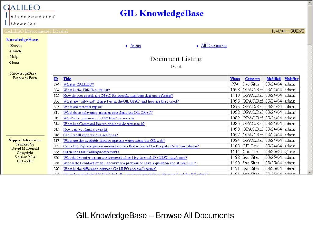 GIL KnowledgeBase – Browse All Documents