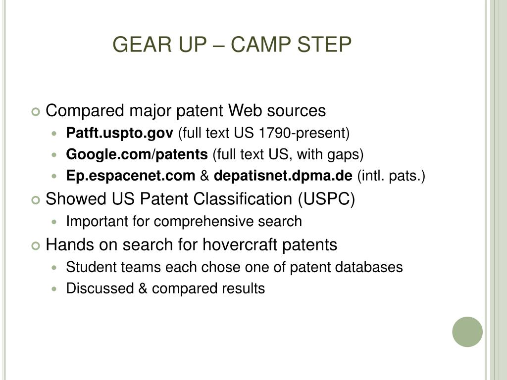 GEAR UP – CAMP STEP