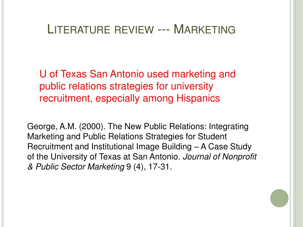 Literature review --- Marketing