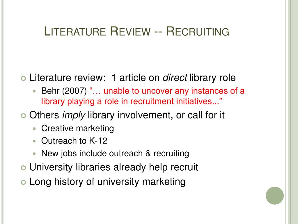 Literature Review -- Recruiting