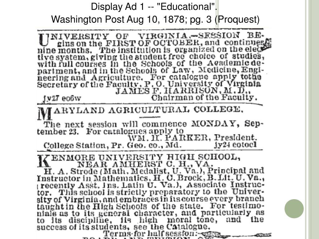"Display Ad 1 -- ""Educational""."