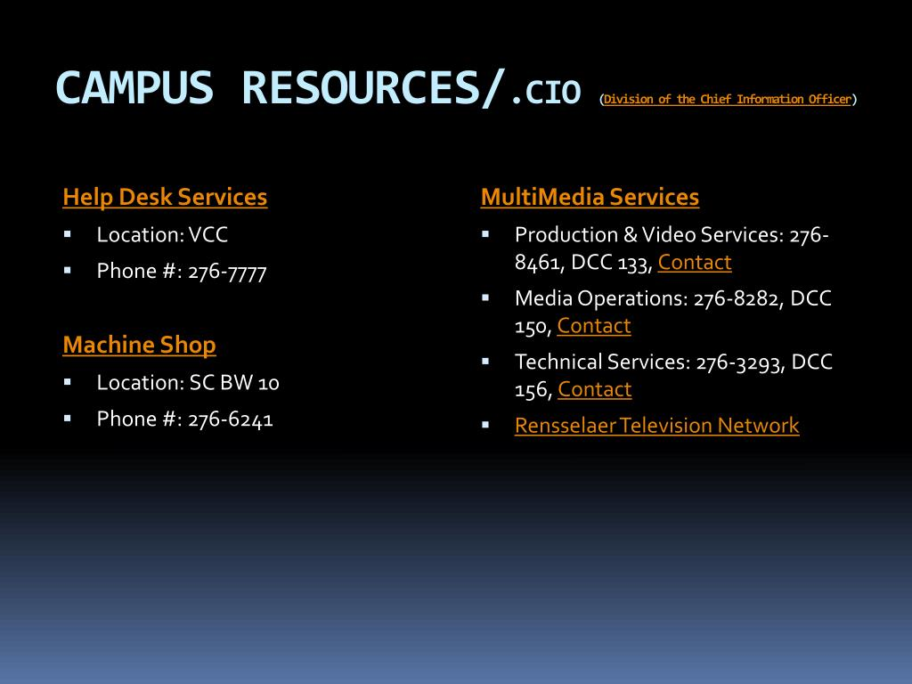 CAMPUS RESOURCES/