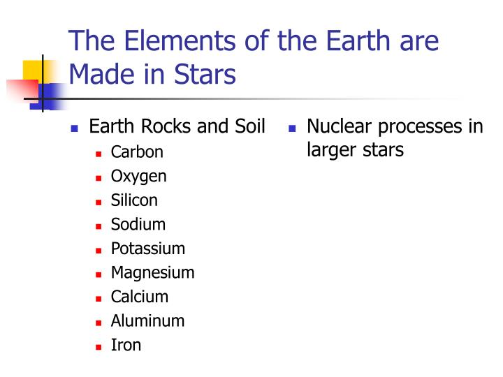 The elements of the earth are made in stars3